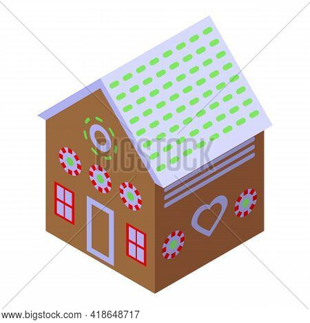 Icing Gingerbread House Icon. Isometric Of Icing Gingerbread House Vector Icon For Web Design Isolat