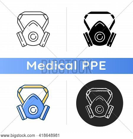 Respirator Icon. Protective Wear From Infection. Facial Mask For Safe Breathing. Air Filter To Preve