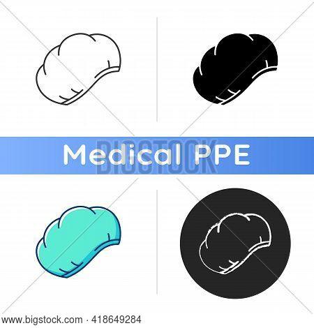 Disposable Surgical Cap Icon. Protective Wear For Head. Doctor Uniform. Sterile Nurse Suit. Quaranti