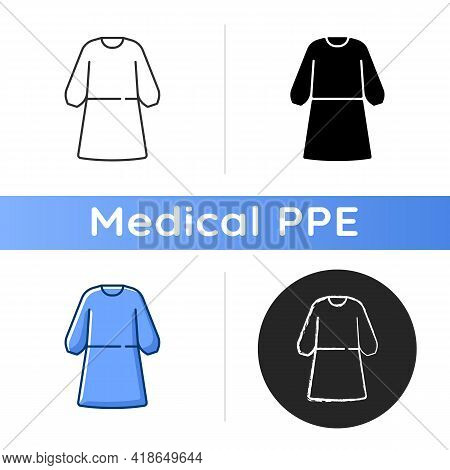 Isolation Gown Icon. Protective Wear From Virus Infection. Reusable Suit To Work With Hazard. Quaran
