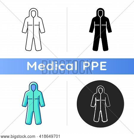 Medical Coveralls Icon. Protective Wear From Dangerous Contamination. Suit For Laboratory. Uniform F