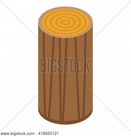 Wood Block Icon. Isometric Of Wood Block Vector Icon For Web Design Isolated On White Background