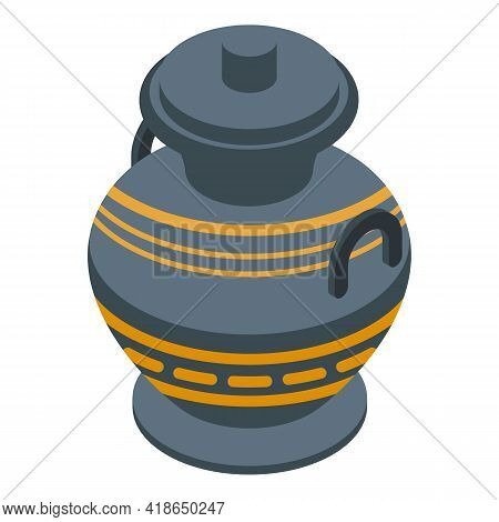 Greek Amphora Icon. Isometric Of Greek Amphora Vector Icon For Web Design Isolated On White Backgrou