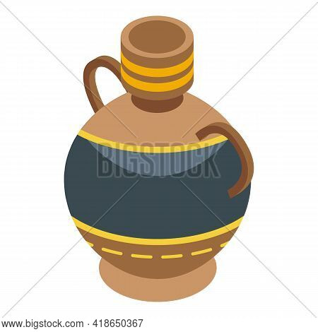 Clay Amphora Icon. Isometric Of Clay Amphora Vector Icon For Web Design Isolated On White Background