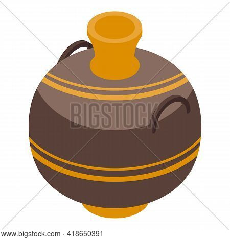 Decorative Amphora Icon. Isometric Of Decorative Amphora Vector Icon For Web Design Isolated On Whit