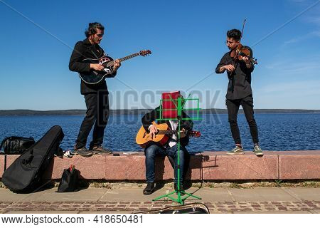 Petrozavodsk, Russia - 9 May 2019. Music Group Performs In The Street For Donations
