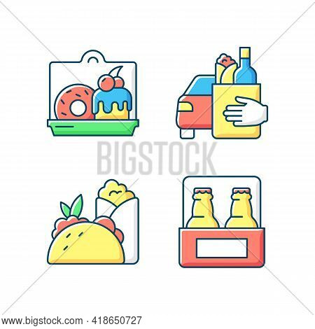Pickup And Delivery Option Rgb Color Icons Set. Cakes And Desserts. Food Curbside Pickup. Burritos,
