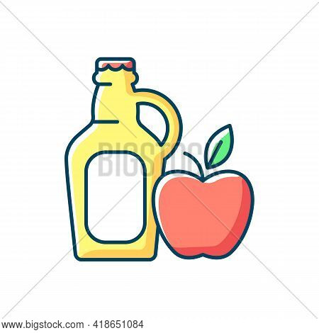 Cider To Go Rgb Color Icon. Fermented Apple Juice. Expressed Fruit Beverage. Alcoholic, Nonalcoholic