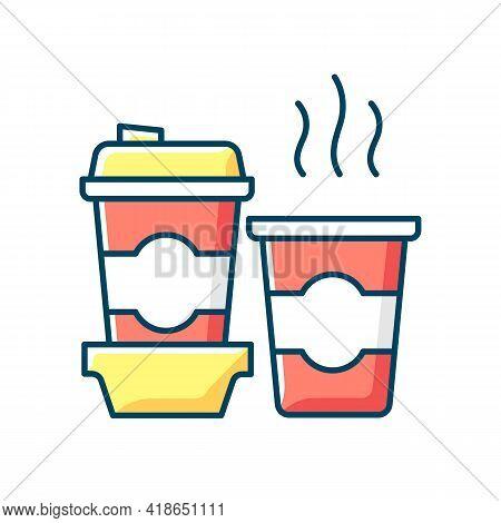 Coffee To Go Rgb Color Icon. Consuming Caffeine. Morning Beverage. Cappuccino, Americano, Espresso.