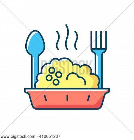 Takeaway Porridge Bowl Rgb Color Icon. Balanced, Filling Breakfast. Takeout Oat Cuisine. Carbohydrat