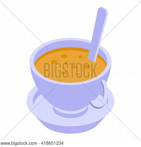 Latte Cup Icon. Isometric Of Latte Cup Vector Icon For Web Design Isolated On White Background