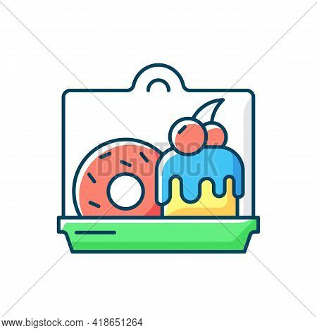 Cakes And Desserts Takeout Rgb Color Icon. Confections Delivery. Sweet Baked Food. Cookies, Pastries