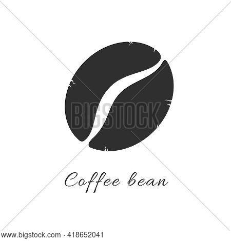 Coffee Bean Simple Flat Icon. Vector Logo Symbol Coffee Bean Silhouette. Robust Arabica Isolated Gra