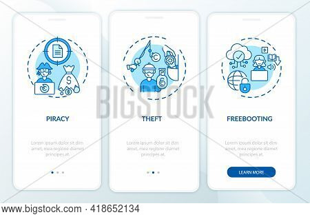 Copyright Violation Types Onboarding Mobile App Page Screen With Concepts. Piracy, Stealing Walkthro