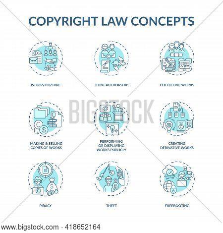Copyright Law Concept Icons Set. Original Works Authorship Protection Idea Thin Line Rgb Color Illus