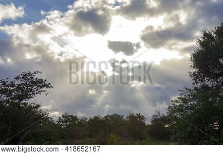 Heavenly Landscape With Sun Rays Between The Clouds Over The Savanna. Cloudy Evening Sky With Sun Ra