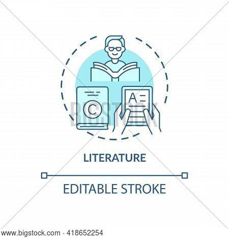 Literature Concept Icon. Copyright Object Idea Thin Line Illustration. Literary Production. Creative