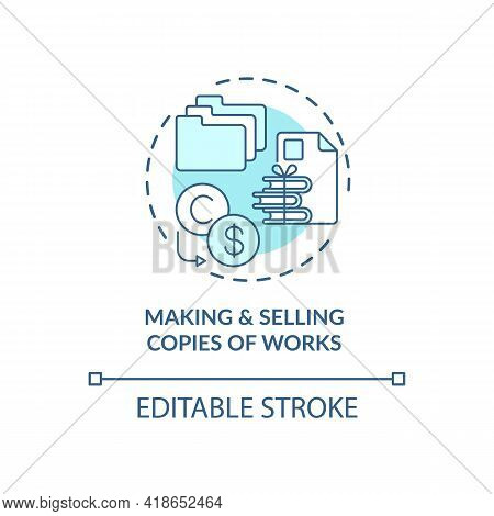 Making And Selling Works Copies Concept Icon. Exclusive Author Right Idea Thin Line Illustration. Co