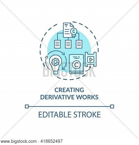 Creating Derivative Works Concept Icon. Exclusive Author Right Idea Thin Line Illustration. Substant