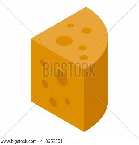 Cheddar Cheese Icon. Isometric Of Cheddar Cheese Vector Icon For Web Design Isolated On White Backgr