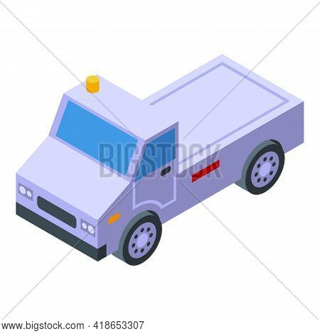 Airport Service Van Icon. Isometric Of Airport Service Van Vector Icon For Web Design Isolated On Wh