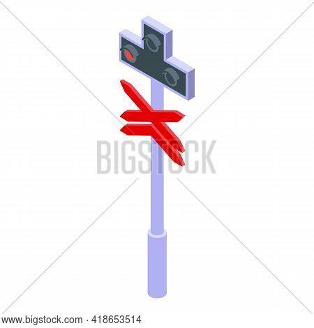 Railway Warning Indicator Icon. Isometric Of Railway Warning Indicator Vector Icon For Web Design Is
