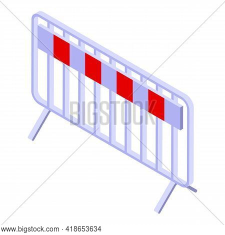 Safety Road Barrier Icon. Isometric Of Safety Road Barrier Vector Icon For Web Design Isolated On Wh