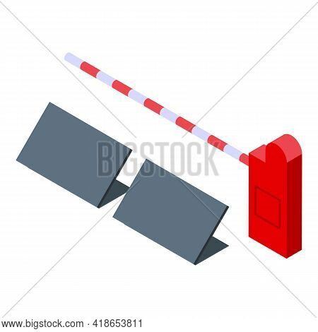 Crossing Barrier Icon. Isometric Of Crossing Barrier Vector Icon For Web Design Isolated On White Ba