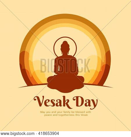 Happy Vesak Day Banner - Brown Buddha Meditated Sign In Circle Layer With Sky On Yellow Background V