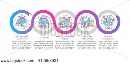 Comprehensive Financial Plan Vector Infographic Template. Existing Savings, Tax Presentation Design
