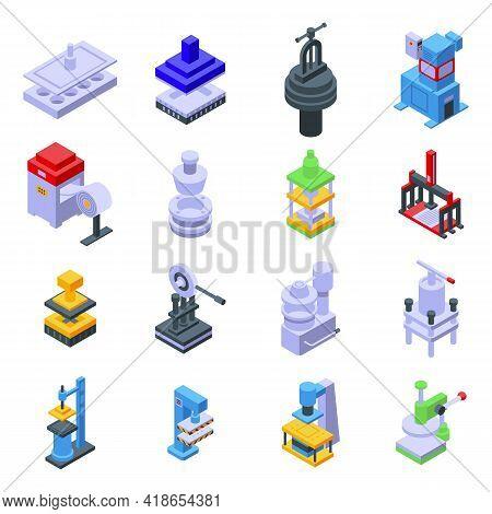 Press Form Machines Icons Set. Isometric Set Of Press Form Machines Vector Icons For Web Design Isol