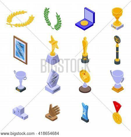 Winner Awarding Icons Set. Isometric Set Of Winner Awarding Vector Icons For Web Design Isolated On