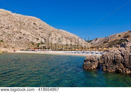 View Of The Beautiful Oprna Beach In The Adriatic Bay Of The Krk Island, Croatia