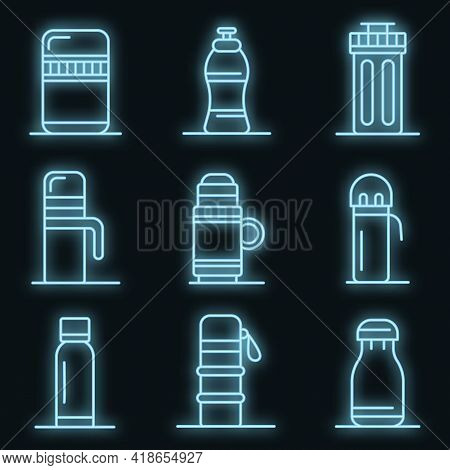 Vacuum Insulated Water Bottle Icons Set. Outline Set Of Vacuum Insulated Water Bottle Vector Icons N