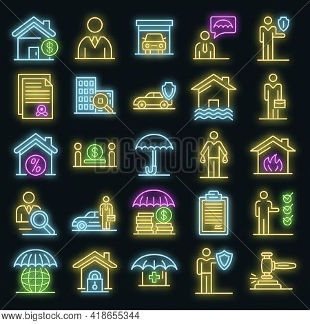 Insurance Agent Icons Set. Outline Set Of Insurance Agent Vector Icons Neon Color On Black