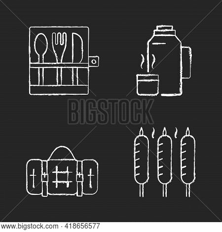 Outdoor Social Gathering Chalk White Icons Set On Black Background. Picnic Cutlery. Vacuum Flask. Gr