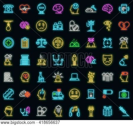 Depression Icons Set. Outline Set Of Depression Vector Icons Neon Color On Black