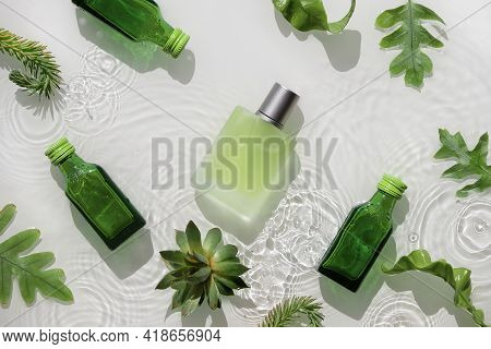 Cosmetic Skincare Background, Splashes Of Water. Herbal Medicine With Green Leaves. Transparent And