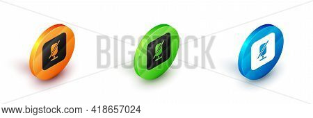 Isometric Mute Microphone Icon Isolated On White Background. Microphone Audio Muted. Circle Button.