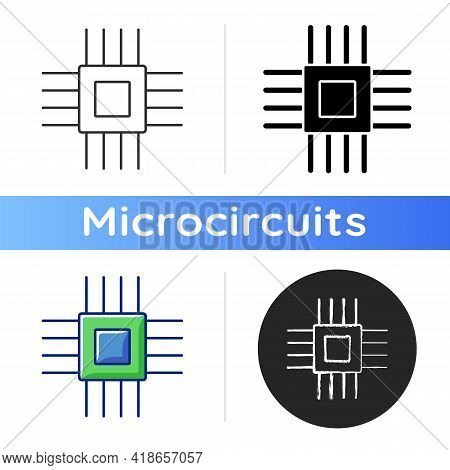 Electronic Micro Parts Icon. Small Electronic Components To Make Modern Smart Systems. Creating Tech