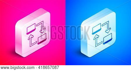 Isometric Online Working Icon Isolated On Pink And Blue Background. Freelancer Man Working On Laptop