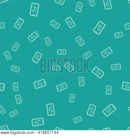 Green Mute Microphone On Mobile Phone Icon Isolated Seamless Pattern On Green Background. Microphone