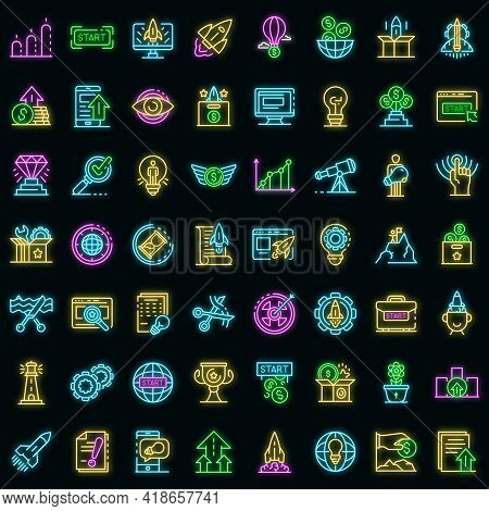 Startup Icons Set. Outline Set Of Startup Vector Icons Neon Color On Black