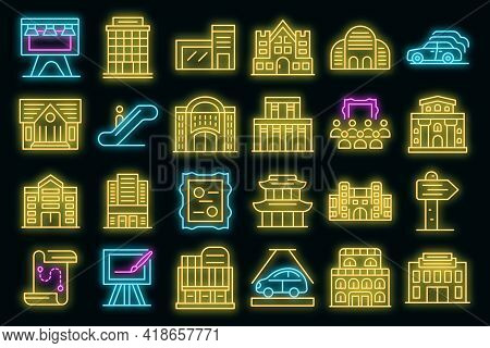 Exhibition Center Icons Set. Outline Set Of Exhibition Center Vector Icons Neon Color On Black
