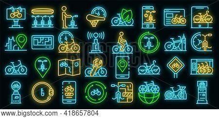 Rent A Bike Icons Set. Outline Set Of Rent A Bike Vector Icons Neon Color On Black
