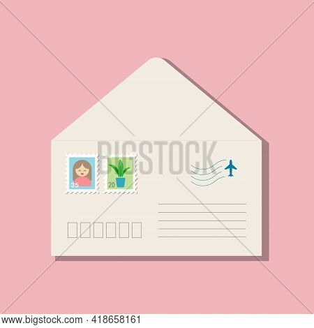 Beige Opened Envelope, Postage Stamps With Brown-haired Girl In Pink Clothes, Green Plant In Blue Po