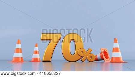 Seventy Percent (70% ) Number With Traffic Cones . 3d Render