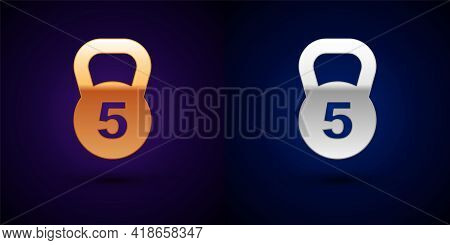 Gold And Silver Weight Icon Isolated On Black Background. Kilogram Weight Block For Weight Lifting A