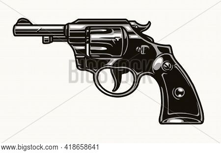 Six Shooter Revolver Vintage Colorful Concept On White Background Isolated Vector Illustration