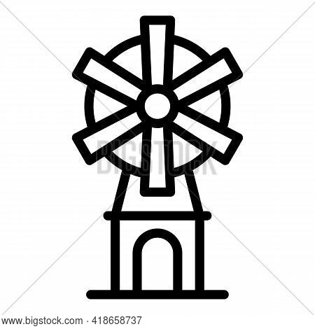 Ranch Windmill Icon. Outline Ranch Windmill Vector Icon For Web Design Isolated On White Background